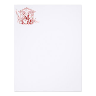 Red Nativity Stamped Letterhead