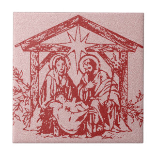 Red Nativity Tile