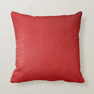 Red Natural Leather Look Throw Pillow