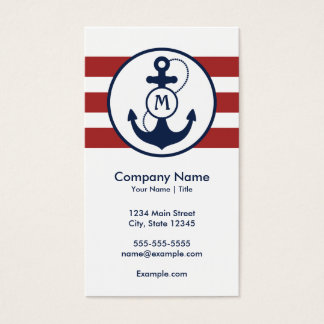 Red Nautical Anchor Monogram Business Card