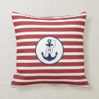 Red Nautical Anchor Monogram Throw Pillow