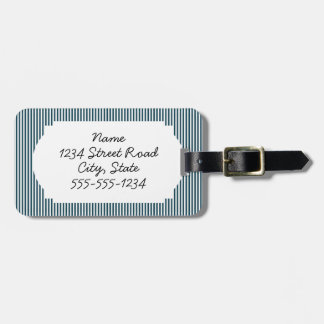 Red nautical anchor on striped blue background luggage tag