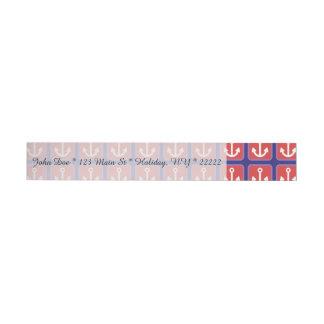Red Nautical Anchor Squares Wraparound Address Label