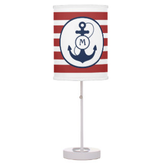 Red Nautical Anchor Table Lamp