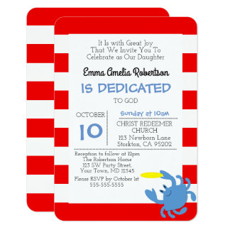 Red Nautical Crab Personalized Small Baptism Card