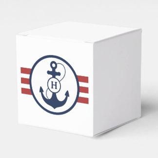 Red Nautical Monogram Wedding Favor Box