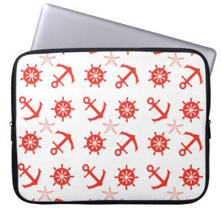 Red nautical pattern laptop sleeve