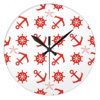 Red nautical pattern large clock