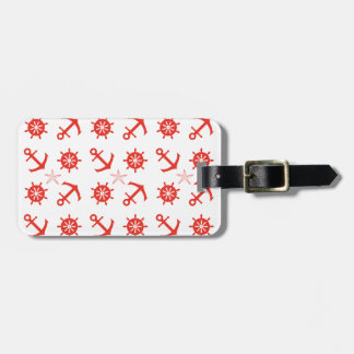 Red nautical pattern luggage tag
