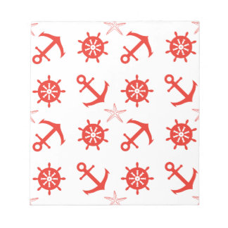 Red nautical pattern notepad