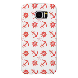 Red nautical pattern samsung galaxy s6 cases