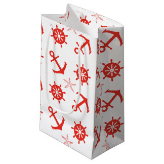 Red nautical pattern small gift bag