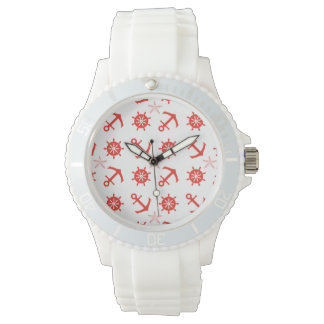 Red nautical pattern wrist watches