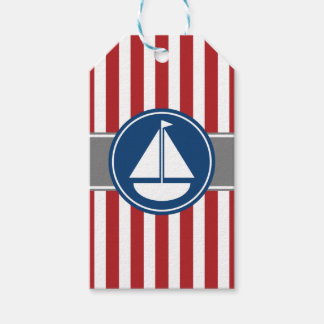 Red Nautical Sailboat Stripes Gift Tags
