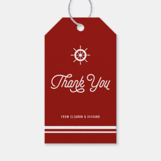 Red Nautical Thank You Script with Helm Pack Of Gift Tags