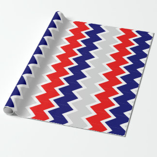 Red, navy blue, and gray chevron Wrapping paper