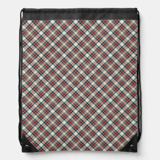Red, Navy Blue and Grey Plaid Drawstring Bag