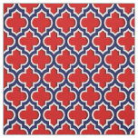 Red, Navy Blue Moroccan Quatrefoil #5DS Fabric
