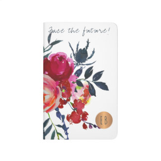 Red navy bouquet monogrammed copper circle quote journal