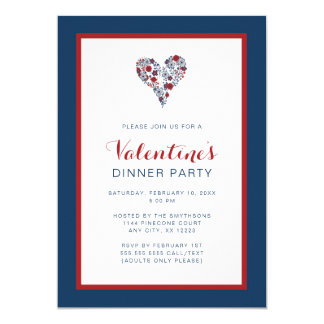Red Navy Floral Heart Valentine's Day Dinner Party Card