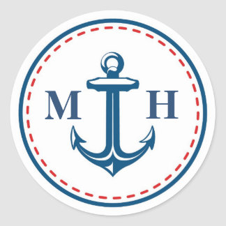 Red/Navy Monogram Nautical Theme Envelope Seals Round Sticker
