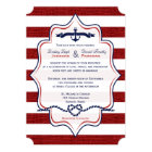 Red, Navy Nautical, FAUX Burlap Stripes Wedding Card