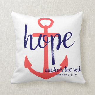 Red Navy Nautical Hope Anchors the Soul Verse Throw Pillow