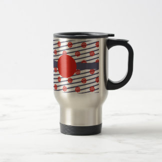 Red & Navy Nautical Pattern Products Travel Mug