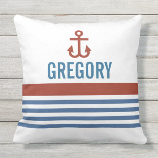 Red Navy Nautical Personalized Throw Pillow