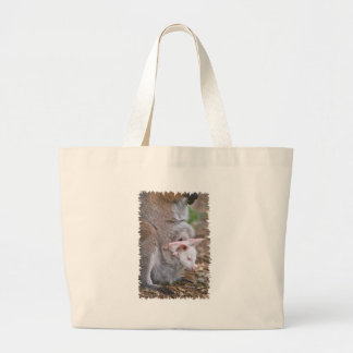 Red-necked wallaby and its joey large tote bag