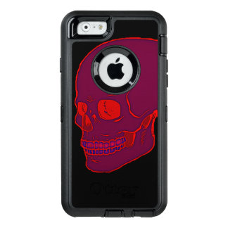 Red neon Skull bold! OtterBox Defender iPhone Case