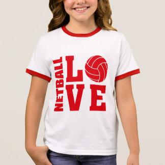 Red Netball Love, Netball Ringer T-Shirt