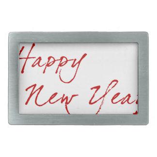 Red New-Year #2 Rectangular Belt Buckles