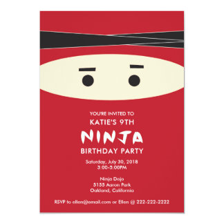 Red Ninja Birthday Party Invitation