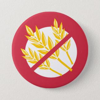 Red No Gluten or Wheat Allergy Alert Celiac Kids 3 Inch Round Button