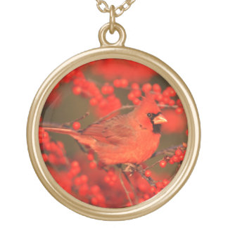 Red Northern Cardinal Male, IL Gold Plated Necklace