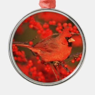 Red Northern Cardinal Male, IL Silver-Colored Round Ornament