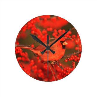 Red Northern Cardinal Male, IL Wallclocks