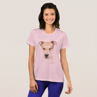 Red Nose Pit Bull Dog Art T-shirt