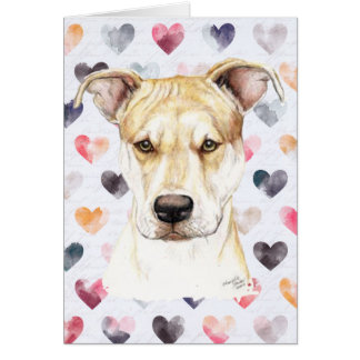Red Nose Pit Bull DogArt Greeting Card