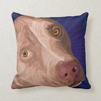 Red Nose Pit Bull with a Blue Background Throw Pillow