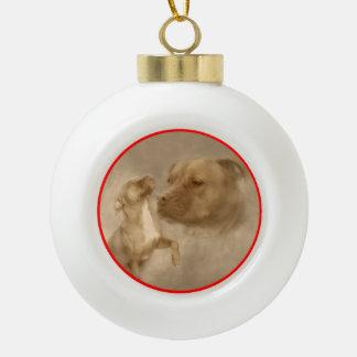 Red Nose Pitbull White Christmas Trees Ceramic Ball Ornament