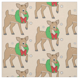 Red-Nosed Reindeer with Wreath Name Customizable Fabric