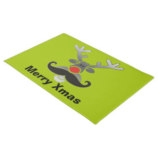 Red Nosed Rudolph with Moustache + your idea Doormat