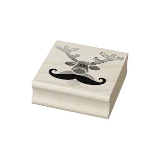 Red Nosed Rudolph with Moustache + your idea Rubber Stamp