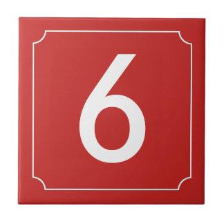 Red number or letter placard tile