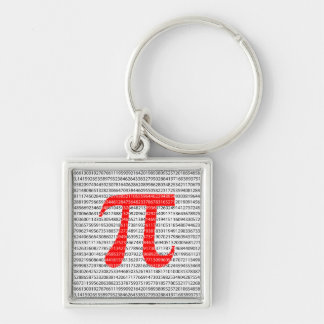Red Number pi is a mathematical constant symbol Keychain