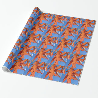 Red Oak Leaves Wrapping Paper