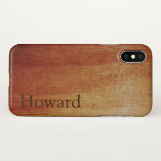 Red Oak Wood Print Name Template iPhone X Case