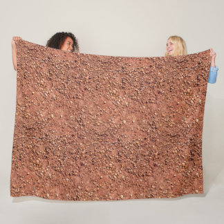 Red ochre sand and pebbles fleece blanket